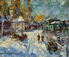 Картина Улочка города зимой Константина Горбатова