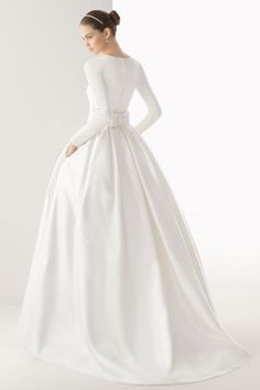 Ball Gown Natural Waist High Neck Silk Satin,organza,tulle Wedding Dress picture 2