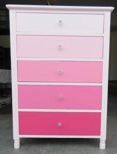 Ombré pink dresser - little girl room decor Girls Room Paint, Girls Bedroom, Bedroom Decor, Bedroom Ideas, Bedrooms, Bedroom Makeovers, Trendy Bedroom, Kids Dressers, Bedroom Dressers