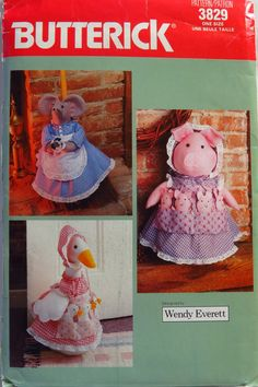 Butterick 3829 Pig or Goose Doorstop, Mouse Broom Cover