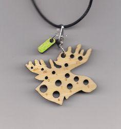 Moose Bamboolery reversible knitting needle gauge pendant with removable stitchmarker charm. $18.00, via Etsy.