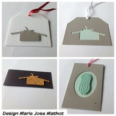 Marianne creatables die knitwork. Tags with paper and wallpaper.
