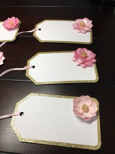 Gold Sparkly Rim Tags, Pink Beaded Flower Favor Gift Tags, Gold Sparkle Rim Tags, Wedding, Pink and Gold Floral Bridal Shower Favor Tags, Gift Tags, 30th Birthday For Him, 3d Paper Flowers, Different Shades Of Pink, Gold Tips, Gold Sparkle, Bridal Shower Favors, Pink And Gold