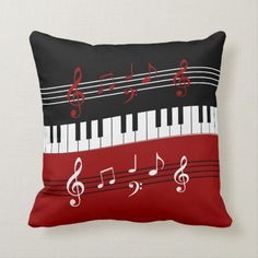 Decorative Cushion Cover Stylish Red Black White Piano Keys and Notes Throw Pillow Case Inchess Piano Keys And Notes, Music Notes, Custom Pillows, Decorative Pillows, Touches De Piano, Throw Pillow Cases, Throw Pillows, Red Pillows, Music Bedroom
