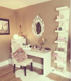 Absolutely love this. Looks like many of the pieces can be found at IKEA (organizer, vanity, shelving). I'd have a larger mirror.