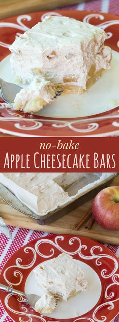 No-Bake Apple Cheesecake Bars with a gluten free almond crust are a light, fluffy holiday dessert recipe. #ad