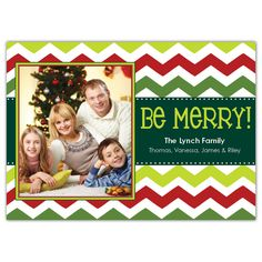 "This holiday season, send a personal greeting that showcases your trend-setting style to everyone you know with this fashionable photo card. Featuring a modern take on a popular geometric design, this stylishly striped card showcases a festive red and green chevron pattern with polka dot accents, along with the cheerful sentiment ""Be Merry!""."