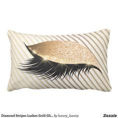 Diamond Stripes Lashes Gold Glitter Ivory Pearl Lumbar Pillow