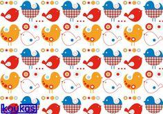 Ύφασμα κιds birds σετ 8τ. 15Χ15
