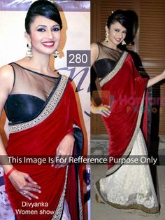 Divyanka Tripathi In Red And White Saree by Vendorvilla.com