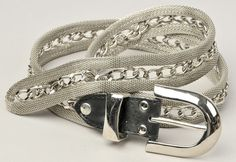 """Silver Metal Mesh & Curb Chain Belt 36""""   #Unbranded"""