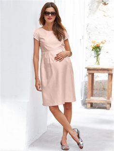 Vestido de manga corta de embarazo ROSA CLARO LISO