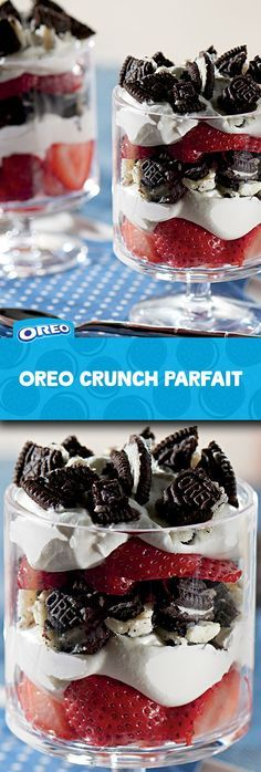 Need to whip up a dessert fast? This quick and easy recipe for OREO Crunch Parfait comes together with just 3 ingredients and 10 mins prep! Layer juicy sliced strawberries, creamy whipped topping and the classic deliciousness of chopped OREO Cookies twice over, then refrigerate for 15 mins. Voila!