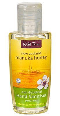 Manuka Honey Anti Bacterial Hand Sanitiser - Wild Ferns - 50ml | Shop New Zealand NZ$7.90