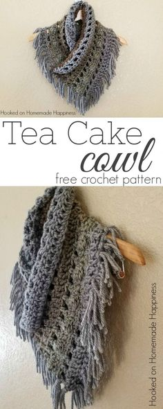 Crochet Poncho Tea Cake Cowl By Breann - Free Crochet Pattern - (hookedonhomemadehappiness) - I'm loving the colorways in the Caron Tea Cakes and they're the perfect size to make this Tea Cake Cowl Crochet Pattern! Crochet Scarves, Crochet Shawl, Crochet Clothes, Crochet Stitches, Free Crochet, Crochet Patterns, Crochet Cowl Free Pattern, Chunky Crochet Scarf, Poncho Patterns