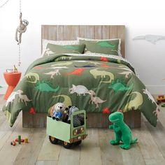 Boys Dinosaur Bedroom, Dinosaur Kids Room, Dinosaur Room Decor, Kids Comforter Sets, Kids Comforters, Toddler Boy Room Decor, Toddler Rooms, Kids Rooms, Dinosaur Comforter