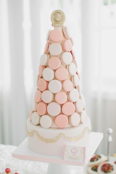 pink and white macaron tower for bridal shower