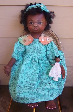 OOAK 22 Oil Painted Black Cloth ART doll with wood by suesizemore, $300.00