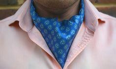 AKIRA - Steel Blue with Light Grey Traditional Japanese Crests Printed Silk Cravat #Cravats #Cravat #Ascot #Ascottie #Ascots #Ties #DayCravat #Japanese #Crest #Japan