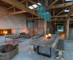 Multiple fires save a stony room from looking cold. Segera Retreat, Kenya.