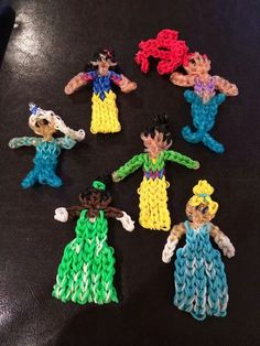 Rainbow loom (This is not my photo. Search YouTube.com - Rainbow Loom, Cinderella brings up a tutorial and you can modify colors appropriately.)