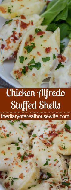 Chicken Alfredo Stuffed Shells. Such a simple recipe but SOO good! This is a favorite. #easyrecipe #dinneridea