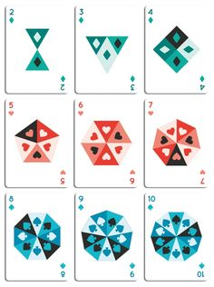 Tinc Deck playing cards, an original, fun and colourful design.