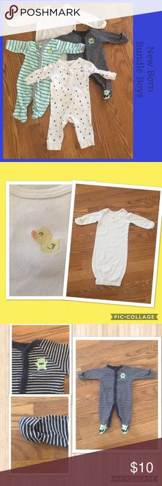 🎼 Rock-a-bye Baby 🎼 Good preowned condition  Recommend washing as these have been in storage, may have some stains but no rips, tears or missing snaps Variety colored bundle New borns Varies name brands (D) Pajamas Sleep Sacks