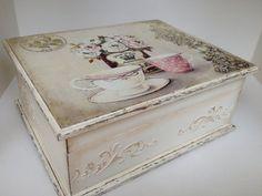 Tea box vintage cream tea time box by JelenaDecoupageChic on Etsy Cigar Box Projects, Cigar Box Crafts, Tea Storage, Diy Storage Boxes, Decoupage Box, Decoupage Vintage, Shabby, Cigar Box Art, Wooden Tea Box