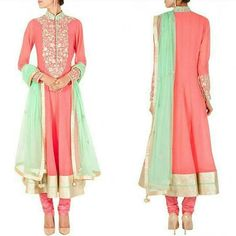 Peach zari work embroidered anarkali set 👉Fabric : Semi Georgette 👉Work : Gold zari work with embroidery detail on collar , yoke and cuffs 👉Comes with matching shantoon churidar and a sea green chiffon dupatta with zari buttis and tassels 👉Available only @ 2500 INR  Note : Limited Stock Available Only  To place an order call / whatsapp : +91 9054562754