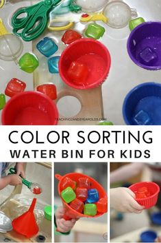 Strengthen color recognition and fine motor skills with this fun water sensory bin! Perfect for toddlers and preschoolers in the home or classroom. #color #sensorybin #toddlers #preschool #finemotor #colorrecognition #watertable #AGE2 #AGE3 #classroom #teachers #homeschool