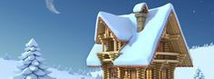 Beautiful Snowy House in Christmas Night Facebook Cover