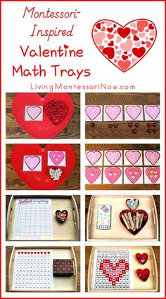 Montessori-inspired valentine math trays created using free printables