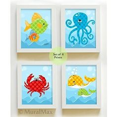 MuralMax  Whimsical Sea Life  Ocean Creatures  Unframed Prints  Set of 4  Size 8 x 10 * To view further for this item, visit the image link.