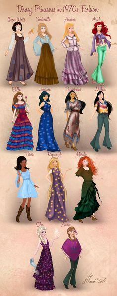 Disney Princesses in 1970s Fashion by Basak Tinli by BasakTinli.deviantart.com on @DeviantArt