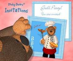 Cute Dinky Bears Invitation for Barbecue - Digital Download by DinkyPrints