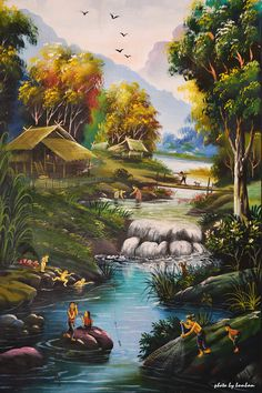 จิตรกรรมฝาผนัง (Mural painting) by Photo by Bombam / Beautiful Nature Pictures, Beautiful Nature Scenes, Beautiful Landscapes, Scenery Paintings, Nature Paintings, Beautiful Paintings, Fantasy Landscape, Landscape Art, Landscape Paintings