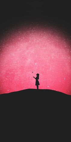Starry night, girl, outdoor, silhouette, wallpaper - My Wallpaper Graffiti Wallpaper, Painting Wallpaper, Girl Wallpaper, Disney Wallpaper, Nature Wallpaper, Cute Wallpaper Backgrounds, Pretty Wallpapers, Galaxy Wallpaper, Starry Night Wallpaper