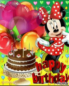 34 Super Ideas For Birthday Quotes Disney Pictures Happy Birthday Greetings Friends, Happy Birthday Mickey Mouse, Happy Birthday Niece, Happy Birthday Cake Images, Birthday Wishes For Kids, Happy Birthday Wishes Images, Happy Birthday Celebration, Happy Birthday Flower, Minnie Mouse
