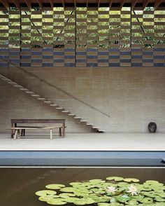 "Lotus House, Japan | Architect: Kengo Kuma ""A house by a quiet river, deep in the mountains. I have thought of filling water between the river and the house and planting lotus... """