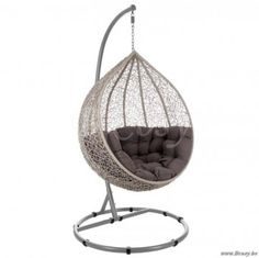 J-Line Wicker hangstoel ei taupe hangzetel wicker eivorm Taupe, Greige, Swinging Chair, Home Living, Metal, Furniture, Home Decor, Roof Gardens, Swings