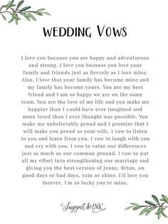 Personalized Real Wedding Vows That You'll Love Snippet & Ink
