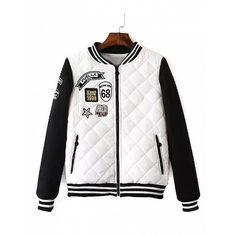 Choies White Quilting Patches Detail Long Sleeve Padded Bomber Jacket ($46) ❤ liked on Polyvore featuring outerwear, jackets, white, flight jacket, padded jacket, patch jacket, long sleeve jacket and white bomber jacket