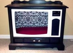 Very deep, dark-stained TV made pet bed with very white paint to contrast.  (Saving for ideas for a future project for my 10-inch, 1948 RCA Victor Model 8-T-243.)