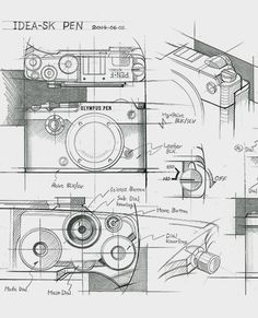 Photography Is Easy To Learn About; Photo by Florenz. Photography might appear very complicated and involved, but if you know what you are doing, it can be a very exciting recreational activi Camera Sketches, Drawing Sketches, Sketching, Drawings, Pen Camera, Film Camera, System Camera, Industrial Design Sketch, Product Sketch