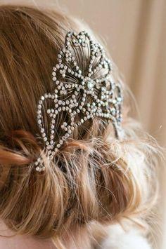 Feather headband vintage headband antique wedding bride bridesmaid diamanté hair comb www.sheenaholland.com