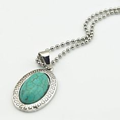 Toonykelly Vintage Look Antique Silver Plated Oval Turquoise Stone Necklace(1 Pc)