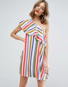 ASOS Stripe Ruffle One Shoulder Mini Dress