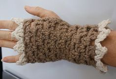 Crochet Fingerless Gloves Made With V Stitch in Brick Repeat: Project Description: