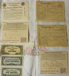 WWII LOT- 3 RATION BOOKS (1 NEAR FULL)  AND 3 MINT JAPANESE INVASION CURRENCY